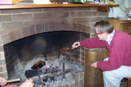 Lois toasting marshmallow. She had the most amazing implement designed for the purpose.