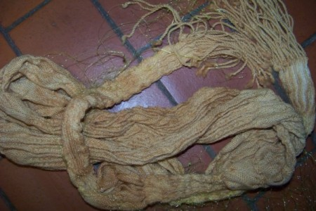 One of the scarves after dyeing