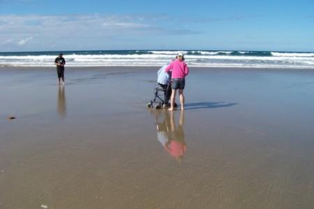 Mum getting her feet wet