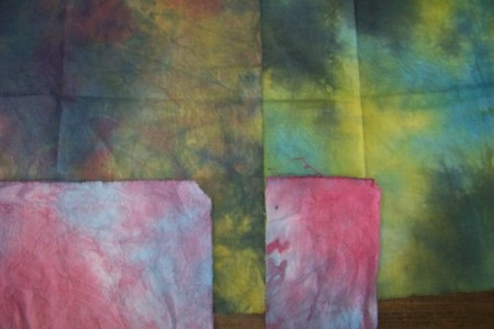 Dye samples using Procion on cotton fabric