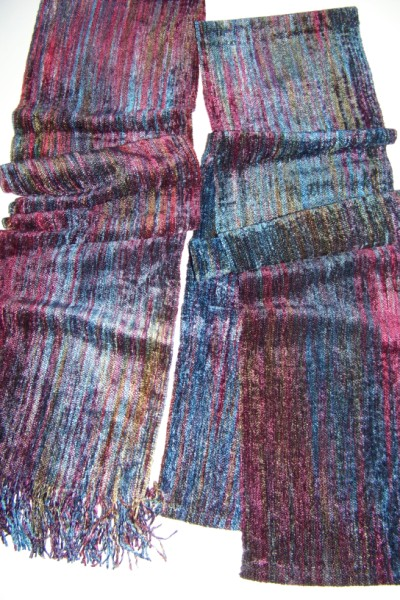 Two rayon chenille scarves