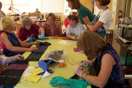 Some of the Reno Class undoing their shibori.