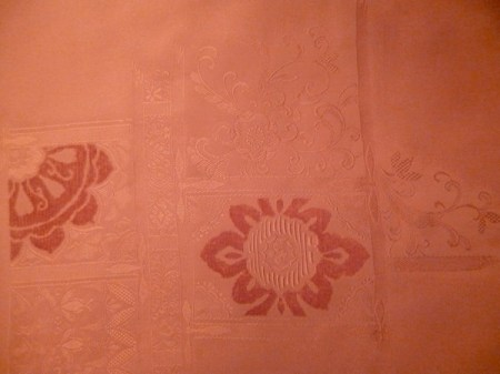 A jacquard cloth: satin ground with imagery and velvet. Exquisite!